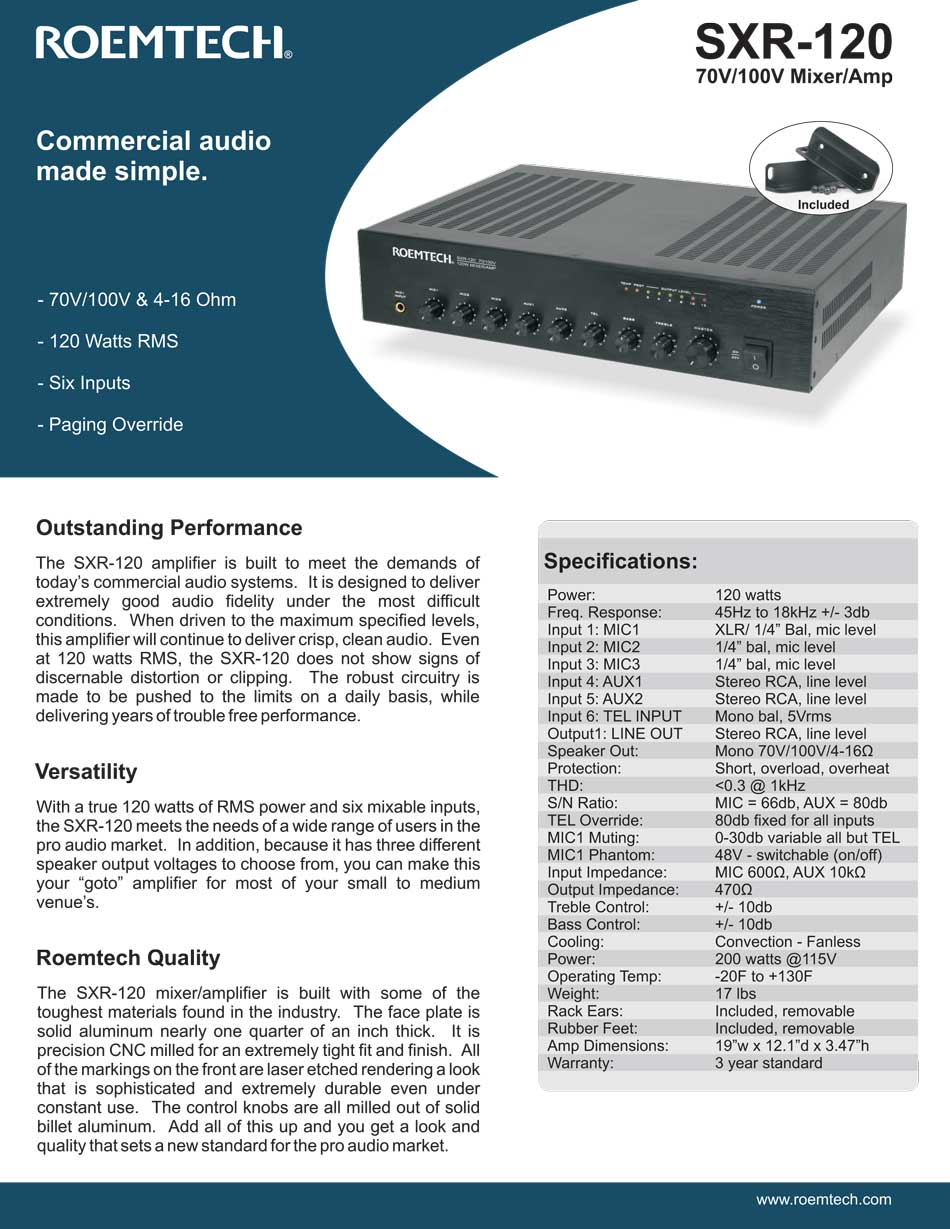 Classroom Audio Systems - PMA-245 Specifications