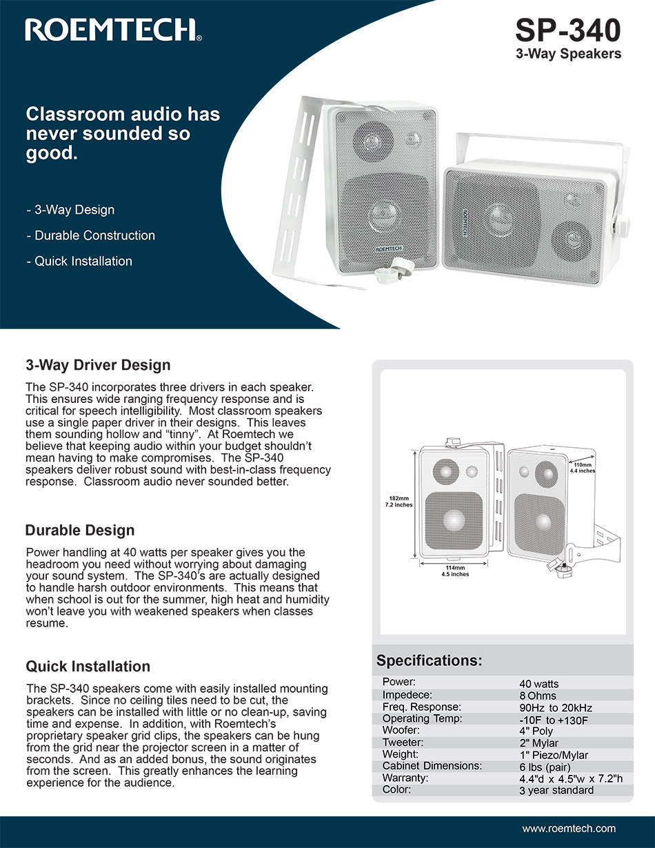 Classroom Audio Systems - SP-340 Specifications