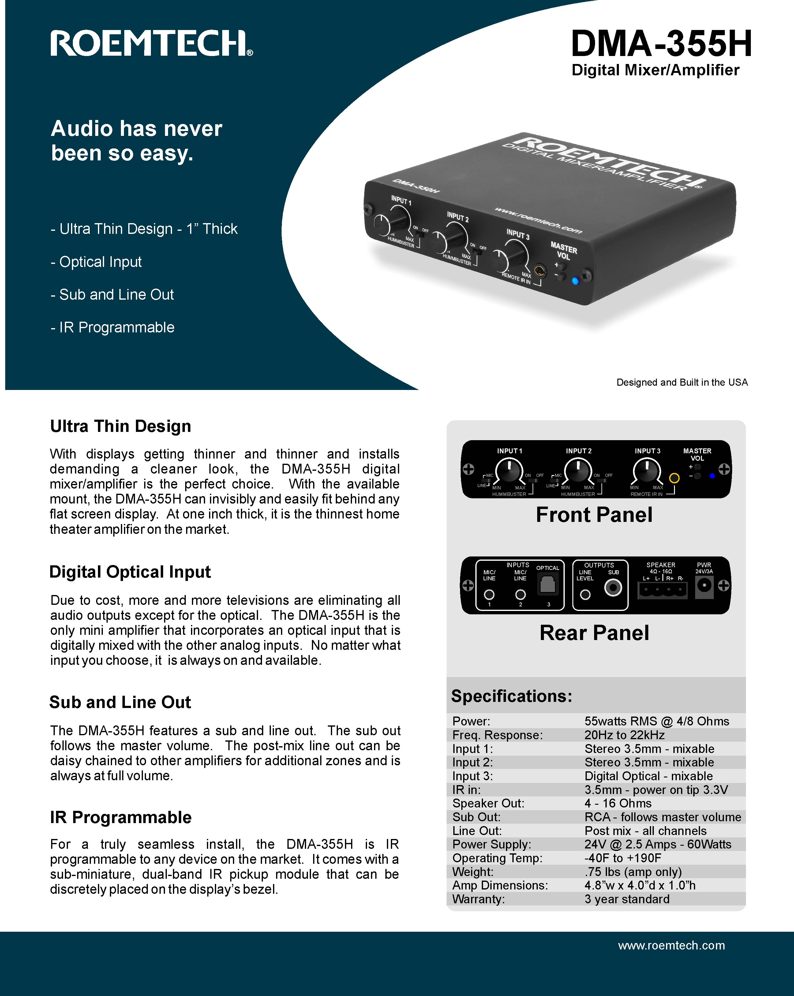Classroom Audio Systems - PMA-350 Specifications