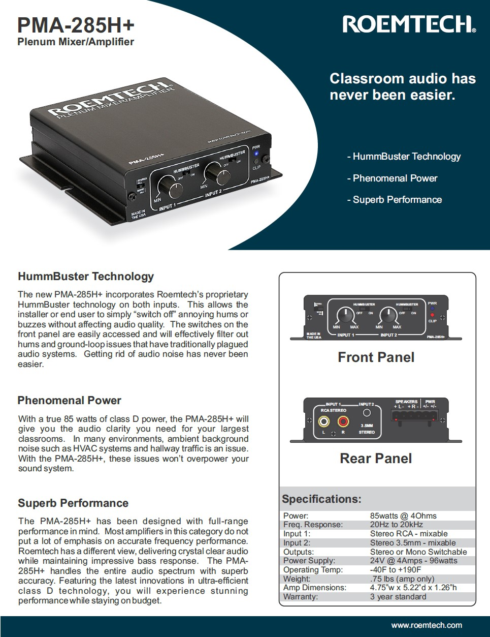 Classroom Audio Systems - PMA-245H Specifications
