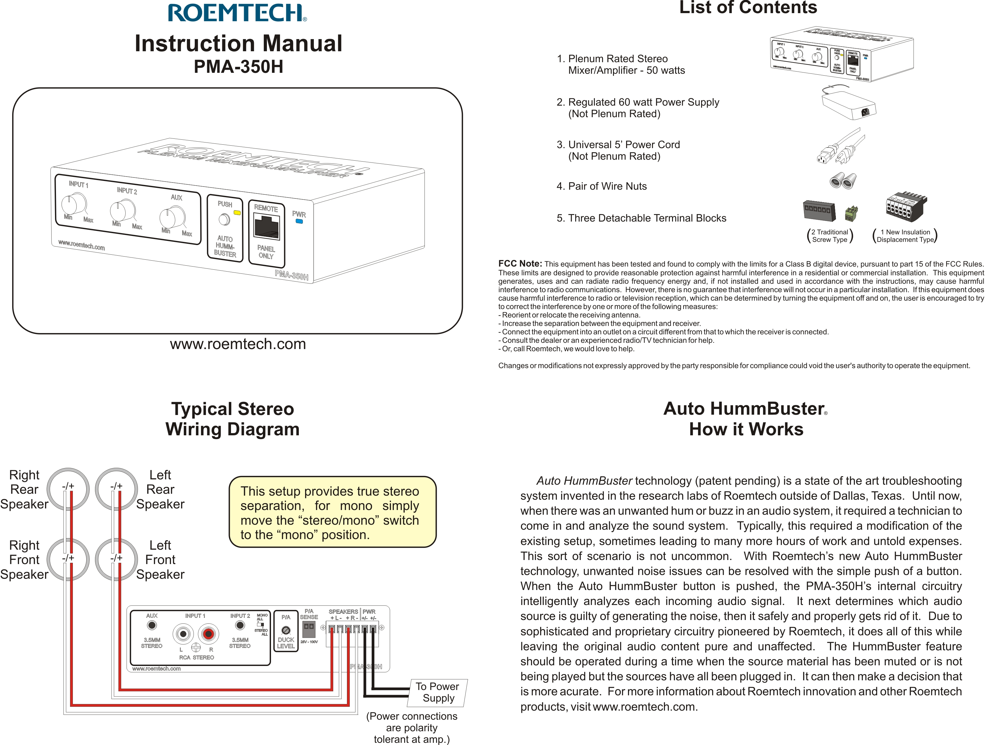Classroom Audio Systems - PMA-350H Instruction Manual PDF