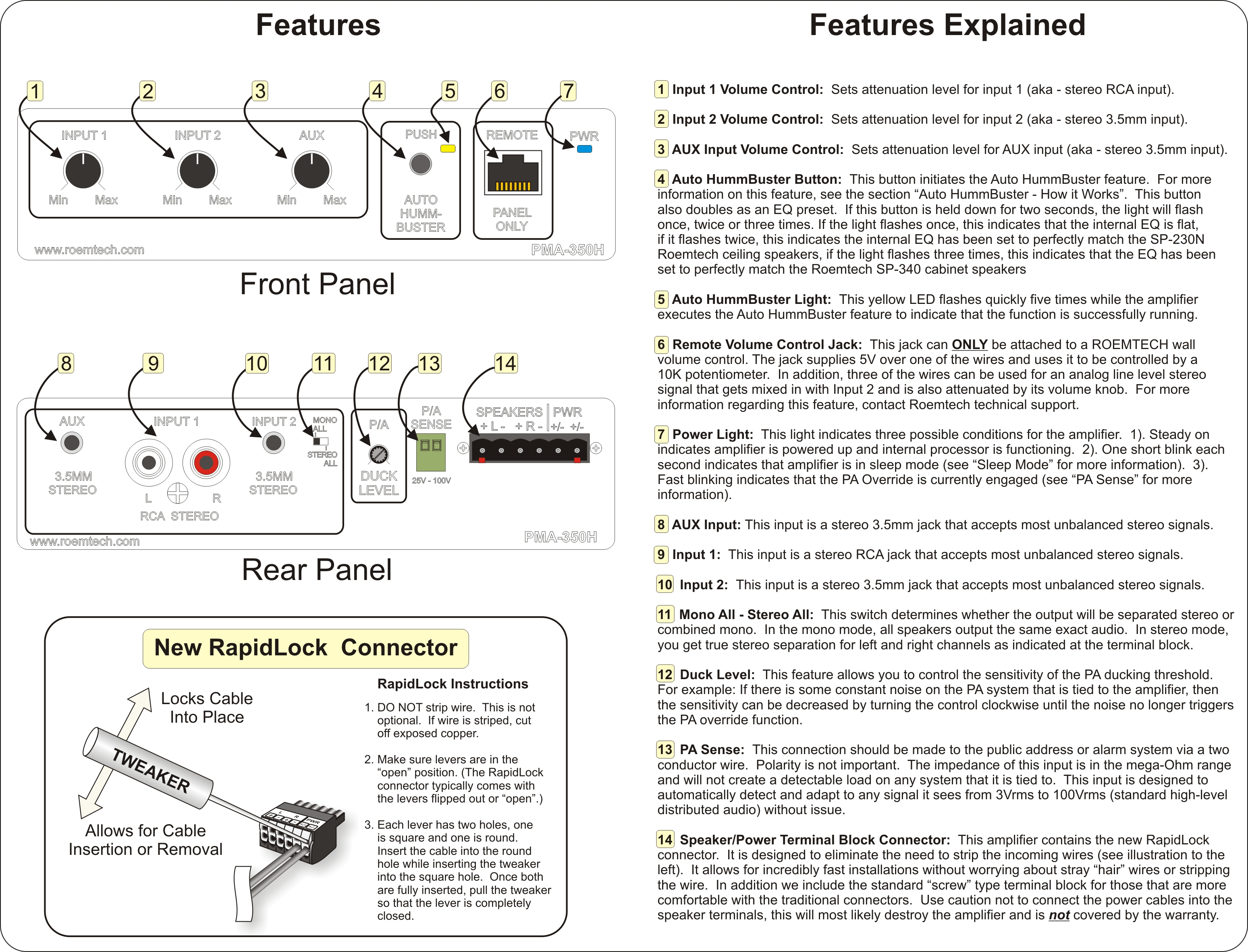 Classroom Audio Systems Pma 350h Instruction Manual Public Address System Wiring Diagram Pdf
